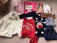 9-12 month winter bundle of girls clothes including Jasper Conran coat and Christmas items