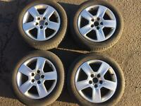 AUDI A4 A6 A3 T4 TT R16 GENUINE ALLOYS WITH MATCHING 6MM DUNLOP SPORT TYRES