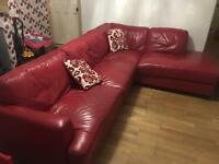 Red corner sofa, used condition.