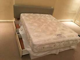 King size bed with mattress and drawers