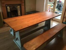 Pine Dinning Room Table and Benches.