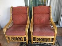 2 Cane/ wicker chairs