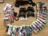 XBOX 360 Kinect, 4 controllers and games