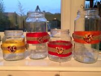 40 hand decorated JARS / WEDDING Table Decorations