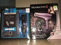 Babyliss hair clippers and Remington hair dyer.