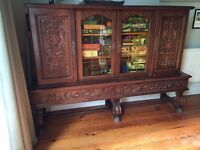Solid wood substantial Cabinet / Sideboard / Cupboard with ornate carving