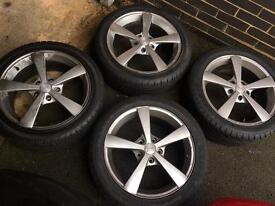 Four 17 inch allow wheels with good Tyres