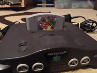 Nintendo 64, one controller and Super Mario 64