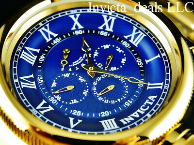 Invicta Men 52mm Russian Diver Multi Function Blue Dial 18K Gold Plated SS -