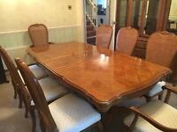 Solid Wood Extendable Dining Table & 8 Chairs