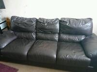 Brown 3seater leather sofa