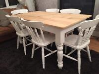 Amazing 5ft Shabby Chic Chunky Farmhouse Pine Table and 6 Chairs