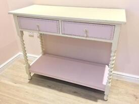 Shabby Chic Solid Wood Barley Twist Console Table Refurbished.