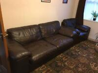 Harvey's Leather 3 seater sofa and armchair