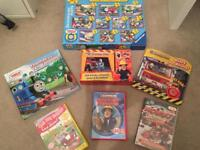Collection of puzzles, books and dvds including Thomas and Fireman Sam
