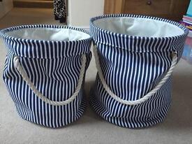 Set of 2 John Lewis Nautical Stripe Storage Bags/Baskets