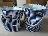 Set of 2 John Lewis Nautical Stripe Storage Bags/Baskets