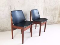 Set 6 Mid century 1960's Elliots of Newbury teak and vinyl dining chairs