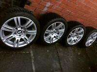 Bmw Genuine M Sport 17 inch Staggered alloy wheels with tyres 3 series e90 e91