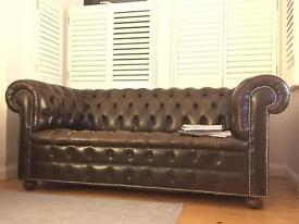 2 seat brown chesterfield sofa