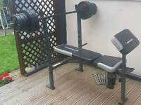 New MAXIMUSCLE Gym Weight Bench + 5kg Barbell + 58.5kg Plates + Metal Dumbells