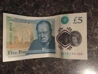 FIVE POUND NOTE AA49135100 £5
