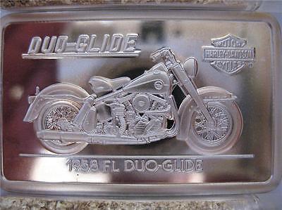 1.4 OZ.999 PURE SILVER 1958 FL DUO-GLIDE HARLEY 90TH ANNIVERSARY BAR INGOT+GOLD