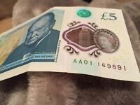 £5 Note AA01 169 FIRST serial code of new £5 note