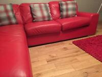 Red corner leather sofa