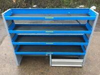 Van Racking / Shelving - 4 Shelves - 1 Cupboard - V G Condition - Heavy Duty - Tool Station