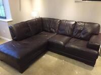 Leather corner sofa and armchair
