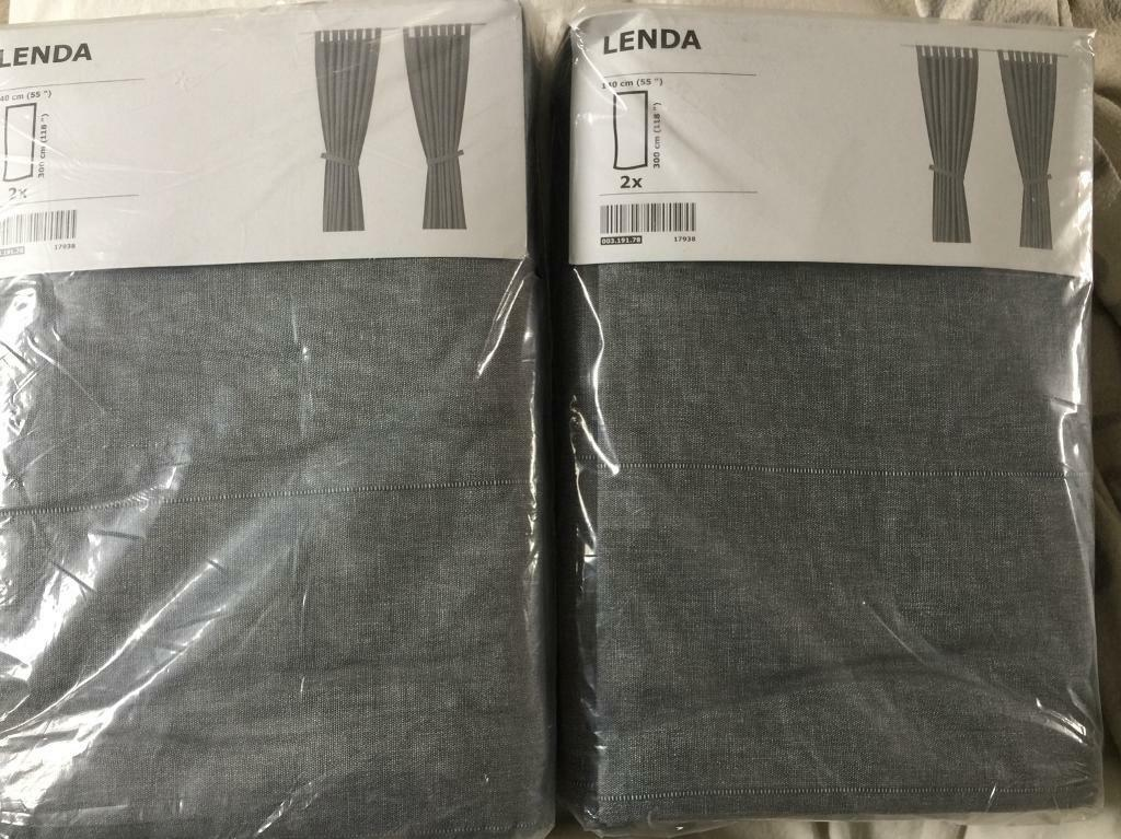 Two Pairs Of Grey Ikea Lenda Curtains Brand New In