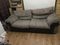 DFS 3 seater Brown Fabric and Suede Sofa