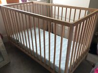 Ikea Sniglar Cot and mattress excellent condition.