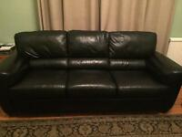 3 seater black leather sofa and chair