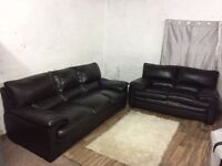 Real leather 3+2 seater sofas**Free delivery**