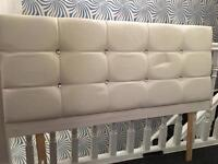 White faux leather double headboard