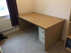 Wood effect desk.
