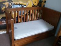 Mamas & Papas Dark Oak/ Autumn Oak Ocean Cotbed Inc mattress