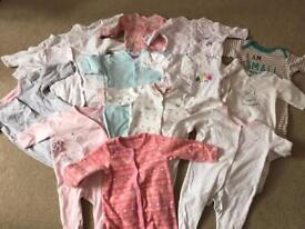 0-3 months girls sleepsuits bundle