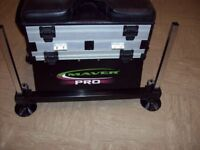 Maver pro seat box with side tray bait waiter and freebies