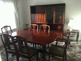 Extending table 6 chairs, display cabinet, nest of tables,coffee table, plant pot stand