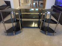 BLACK GLASS AND CHROME TV STAND AND MATCHING SIDE TABLES