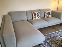 Ikea 2-seat sofa with chaise longue,left only 6months old