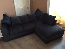 Half leather black and charcoal corner sofa fantastic condition