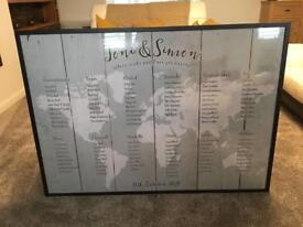 A0 black frame used for wedding table plan