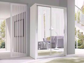 **100% CHEAPEST PRICE!**Berlin Sliding Doors German Wardrobe 203cm With Full Length Mirrors