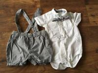 Boys Short Dungarees with Shirt & Dicky Bow - 12 - 18 months