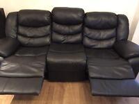 Black genuine Italian leather 3 & 2 seater reclining sofas
