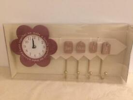 Pink/Purple Decorative Clock And Calendar With Hanger Hooks